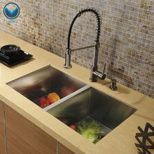 "32"" x 19"" Undermount Double Bowl Kitchen Sink with Faucet and Soap Dispenser"