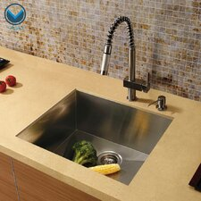"23"" x 20"" Undermount Single Bowl Kitchen Sink with Faucet and Soap Dispenser"