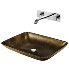 Copper Glass Bathroom Sink with Faucet