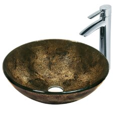 <strong>Vigo</strong> Sintra Tempered Glass Bathroom Sink with Faucet