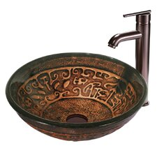 Copper Mosaic Glass Bathroom Sink with Faucet