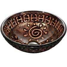 <strong>Vigo</strong> Aztec Round Above The Counter Tempered Glass Vessel Sink