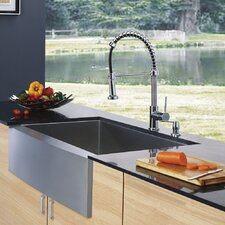 "33"" x 22.25"" x 10"" Farmhouse Single Bowl Kitchen Sink with Faucet and Soap Dispenser"