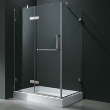 Frameless Pivot Door Shower Enclosure with Left Drain