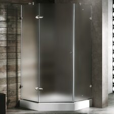 Neo-Angle Door Frameless Frosted Shower Enclosure with Base & Knob Handles and Right Handed Door