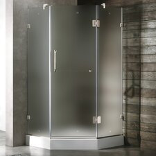 Neo-Angle Door Frameless Frosted Shower Enclosure with Base and Left Handed Door