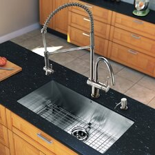 "All in One 32"" x 19"" Undermount Kitchen Sink and 18"" Faucet Set"
