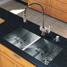 "All in One 32"" x 19"" Undermount Double Bowl Kitchen Sink and 18"" Faucet Set"