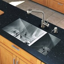 "All in One 29"" x 20"" Undermount Double Bowl Kitchen Sink and Faucet Set"