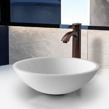 Flat Edged Stone Glass Vessel Bathroom Sink with Faucet