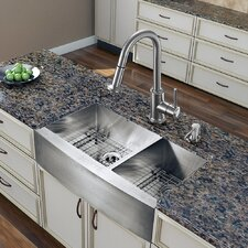 "36"" x 22.25"" Double Bowl Farmhouse Kitchen Sink with Faucet"