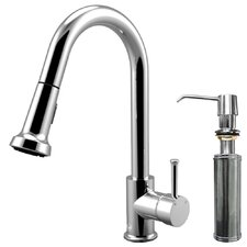 One Handle Single Hole Pull-Out Spray Kitchen Faucet with Soap Dispenser