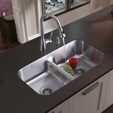 "32.5"" x 18.25"" Double Bowl Undermount Kitchen Sink with Faucet, Two Strainers and Soap Dispenser"