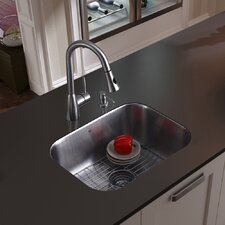 "23"" x 17.75"" Undermount Kitchen Sink with Faucet, Grid, Strainer and Dispenser"