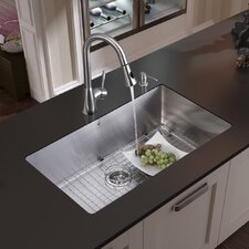"32"" x 19"" Undermount Kitchen Sink with Faucet, Grid, Strainer and Dispenser"
