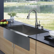 "30"" x 22.25"" Farmhouse Single Bowl Kitchen Sink with Faucet and Soap Dispenser"