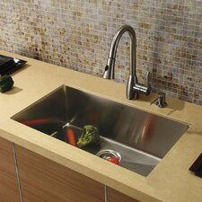 "32"" x 19"" Single Bowl Kitchen Sink with Faucet and Soap Dispenser"