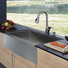 "33"" x 22.25"" Farmhouse 16 Gauge Single Bowl Kitchen Sink with Faucet and Soap Dispenser"