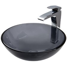 Glass Vessel Sink with Blackstonian Faucet