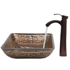 Golden Greek Glass Vessel Sink with Otis Faucet