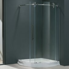 Frameless Round Clear Sliding Door Shower Enclosure with Left-Sided Door