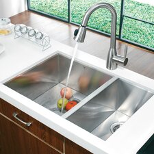 "29"" x 20"" Double Bowl Zero Radius Undermount Kitchen Sink"