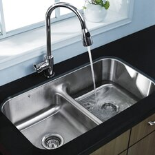 "32.5"" x 18.25"" Equal Double Bowl Undermount Kitchen Sink"