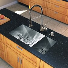 "<strong>Vigo</strong> 29"" x 20"" Zero Radius Double Bowl Kitchen Sink with Sprayer Faucet"