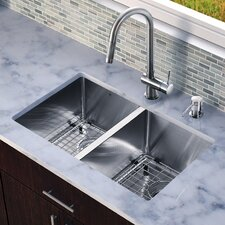 "<strong>Vigo</strong> 29"" x 20"" Double Bowl Kitchen Sink with Pull-Out Faucet"