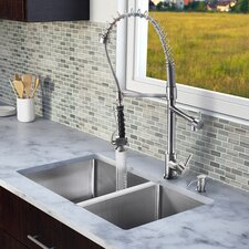 "<strong>Vigo</strong> 29"" x 20"" Double Bowl Kitchen Sink with Sprayer Faucet"