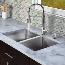 "<strong>Vigo</strong> 29"" x 20"" x 9.9"" Double Bowl Kitchen Sink with Sprayer Faucet"