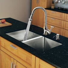 "29"" x 20"" Double Bowl Kitchen Sink with Pull-Out Sprayer Faucet"