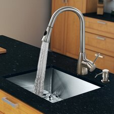 "23"" x 20"" Single Bowl Kitchen Sink with Pull-Out Sprayer Faucet"