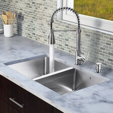 "29.25"" x 18.5"" 25 mm Radius Double Bowl Kitchen Sink with Sprayer Faucet"