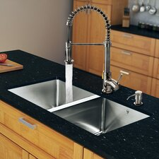 "29.25"" x 18.5"" Zero Radius Double Bowl Kitchen Sink with Sprayer Faucet"