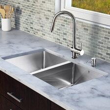 "<strong>Vigo</strong> 29.25"" x 18.5"" Zero Radius Double Bowl Kitchen Sink with Pull-Out Faucet"