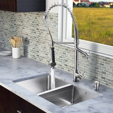 "<strong>Vigo</strong> 29.25"" x 18.5"" Zero Radius Double Bowl Kitchen Sink with Sprayer Faucet"