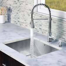 "<strong>Vigo</strong> 23"" x 20"" x 9.9"" Single Bowl Kitchen Sink with Sprayer Faucet"
