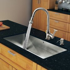 "32"" x 19"" Single Bowl Kitchen Sink with Pull-Out Sprayer Faucet"