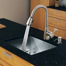 "<strong>Vigo</strong> 23"" x 20"" Zero Radius Single Bowl Kitchen Sink with Pull-Out Sprayer Faucet"