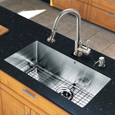 "<strong>Vigo</strong> 30"" x 19"" Single Bowl Kitchen Sink with Pull-Out Sprayer Faucet"