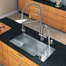 "32"" x 19"" Zero Radius Single Bowl Kitchen Sink with Aerator Faucet"