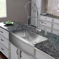 "All in One 36"" x 27.25"" Farmhouse Kitchen Sink and Faucet Set"