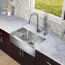 "<strong>Vigo</strong> All in One 30"" x 22.25"" Farmhouse Kitchen Sink and Faucet Set"