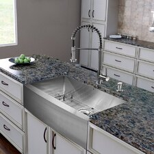 "All in One 36"" x 22.25"" Farmhouse Kitchen Sink and Faucet Set"