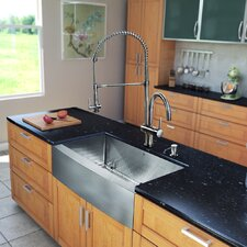 "All in One 33"" x 28"" Farmhouse Kitchen Sink and Faucet Set"