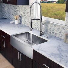 "All in One 33"" x 27.25"" Farmhouse Kitchen Sink and Faucet Set"
