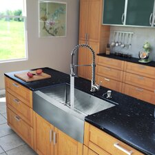 "<strong>Vigo</strong> All in One 36"" x 22.25"" Farmhouse Kitchen Sink and Faucet Set"