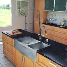 "All in One 36"" x 28"" Farmhouse Double Bowl Kitchen Sink and Faucet Set"