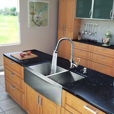 "All in One 33"" x 22.25"" x 15.12"" Farmhouse Double Bowl Kitchen Sink and Faucet Set"